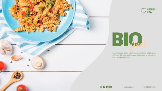 Modèle de bannière de nourriture bio avec photo Psd gratuit