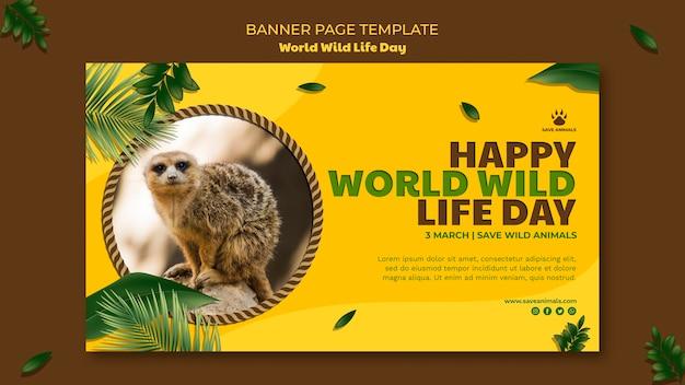 Modèle De Bannière Pour La Journée Mondiale De La Faune Avec Animal Psd gratuit