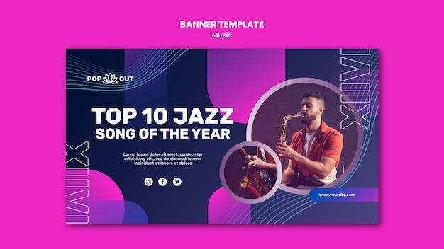 Modèle De Bannière Pour La Musique Avec Un Joueur De Jazz Masculin Et Un Saxophone Psd gratuit