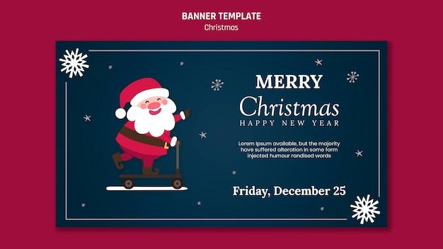 Modèle De Bannière Pour Noël Avec Le Père Noël Psd gratuit