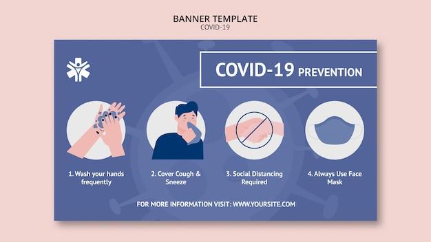 Modèle De Bannière De Prévention Des Coronavirus Psd gratuit