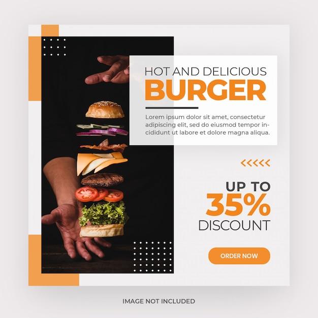 Modèle De Bannière De Publication Instagram De Menu Burger PSD Premium