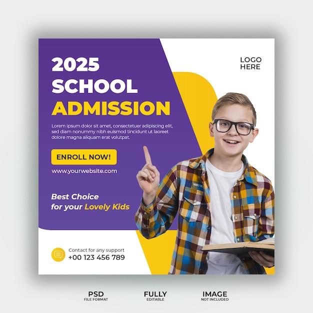 Modèle De Bannière De Publication De Médias Sociaux D'admission à L'école PSD Premium