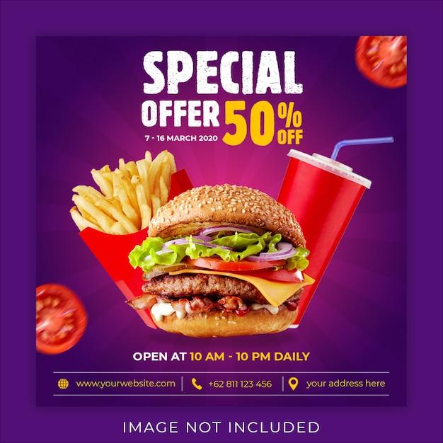 Modèle De Bannière De Publication De Médias Sociaux Instagram Menu Promotion Burger PSD Premium