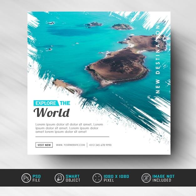 Modèle de bannière de publication de médias sociaux instagram pour voyager PSD Premium