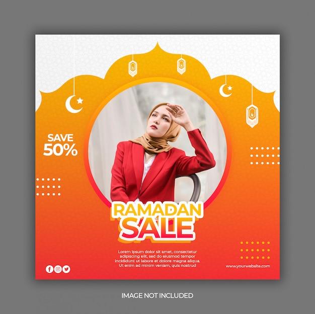 Modèle De Bannière De Publication De Médias Sociaux De Vente Ramadan Ou Dépliant Carré PSD Premium