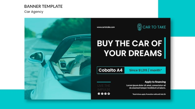Modèle De Bannière Publicitaire Pour Agence Automobile Psd gratuit
