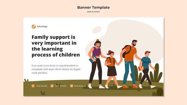 Modèle De Bannière Publicitaire De Retour à L'école Psd gratuit