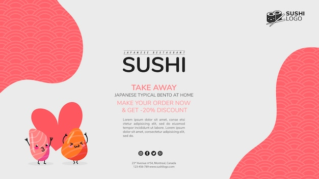 Modèle De Bannière De Restaurant De Sushi Asiatique Psd gratuit