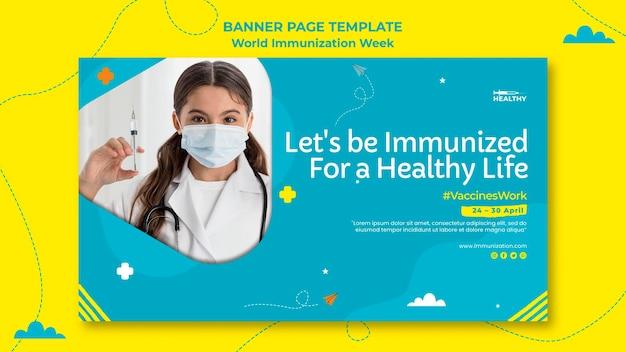 Modèle De Bannière De La Semaine Mondiale De La Vaccination Psd gratuit