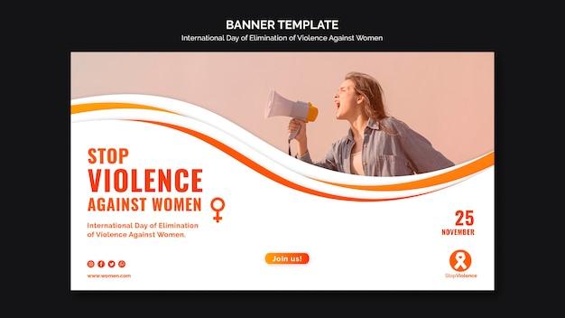 Modèle De Bannière De Sensibilisation à La Violence Contre Les Femmes Psd gratuit