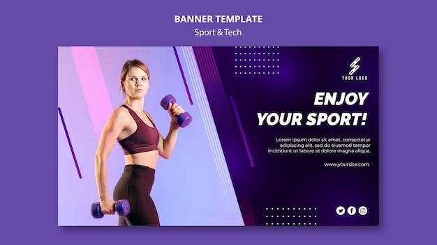 Modèle De Bannière Sport Et Technologie Avec Photo Psd gratuit