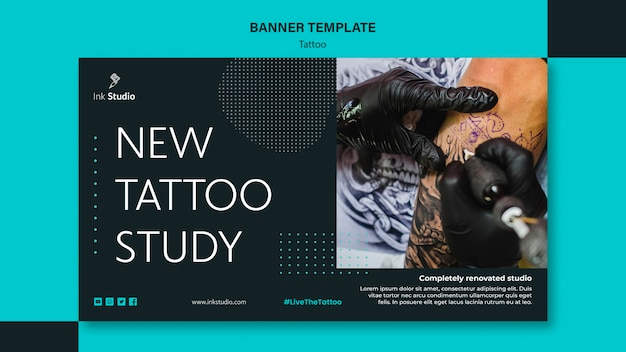 Modèle De Bannière De Studio De Tatouage Professionnel Psd gratuit