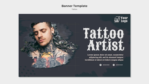 Modèle De Bannière De Tatoueur Psd gratuit