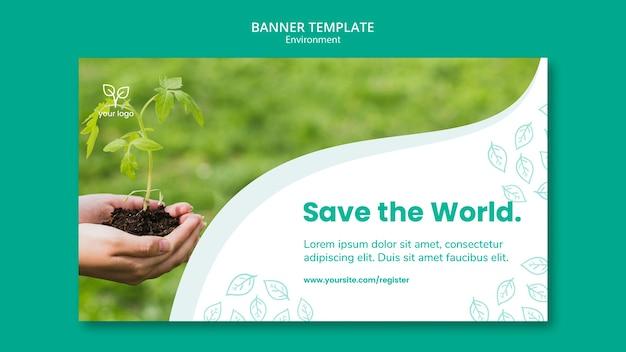 Modèle De Bannière Avec Thème D'environnement Psd gratuit