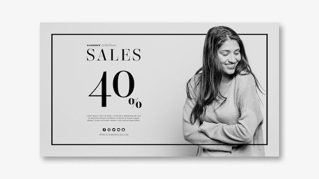 Modèle de bannière de vente avec image Psd gratuit