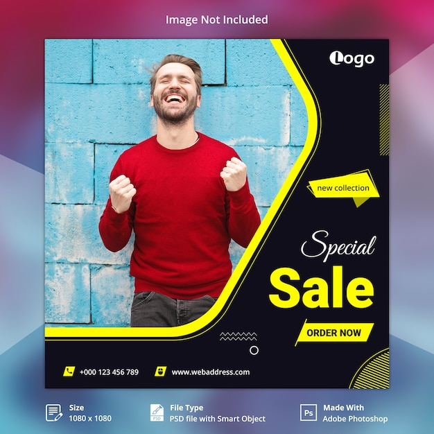 Modèle de bannière de vente spéciale de médias sociaux PSD Premium