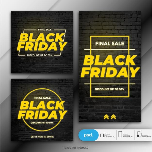 Modèle de bannière de vente vendredi noir PSD Premium