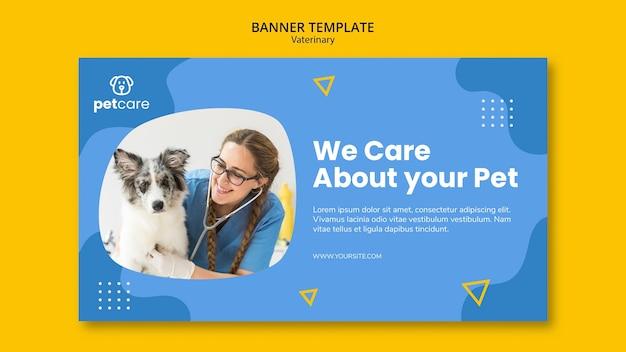 Modèle De Bannière Vétérinaire Femme Vétérinaire Et Chien Psd gratuit