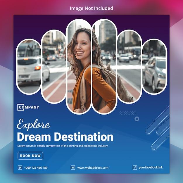 Modèle de bannière de voyage sur les médias sociaux PSD Premium