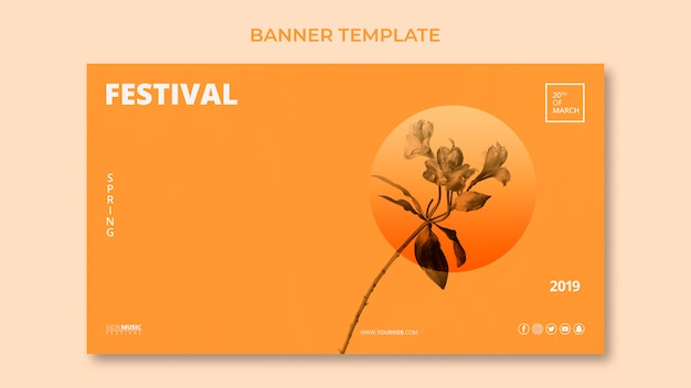 Modèle De Bannière Web Avec Concept De Festival De Printemps Psd gratuit