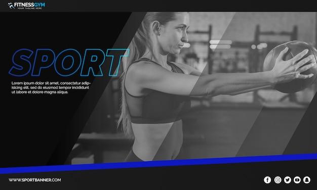 Modèle de bannière web avec concept sportif Psd gratuit