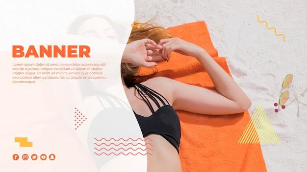 Modèle De Bannière Web Dans Le Style De Memphis Avec Le Concept De L'été Psd gratuit