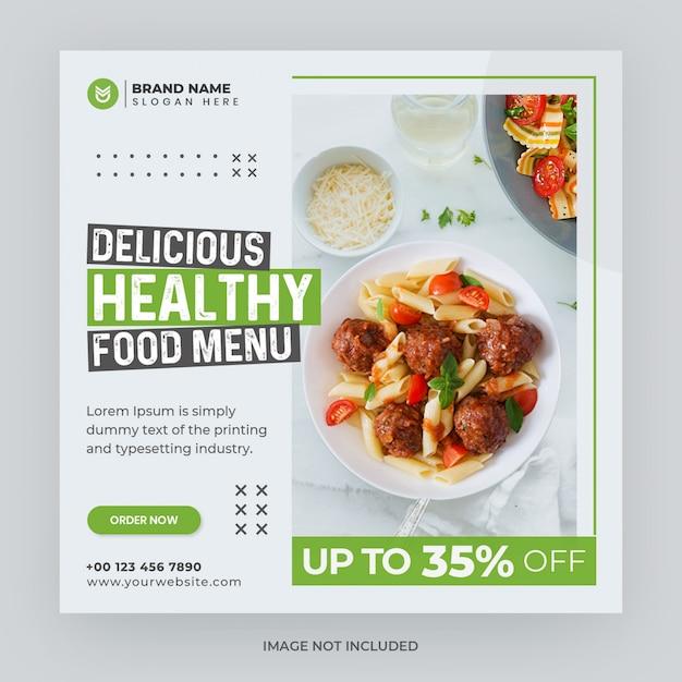 Modèle De Bannière Web Instagram De Médias Sociaux De Menu Alimentaire PSD Premium