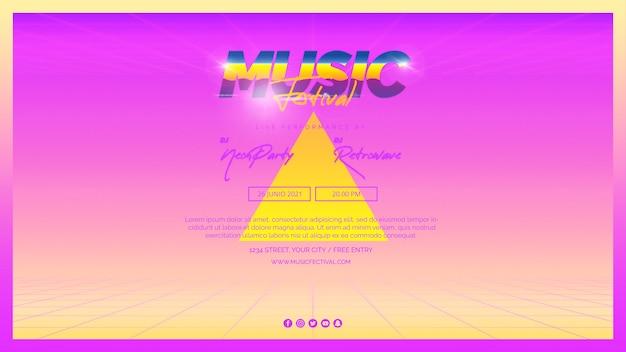 Modèle de bannière web pour festival de musique des années 80 Psd gratuit