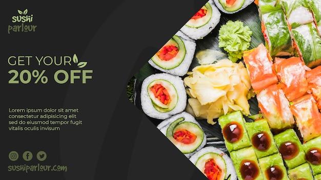 Modèle de bannière web pour un restaurant japonais Psd gratuit