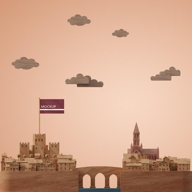 Modèle De Bâtiments De Villes 3d Psd gratuit