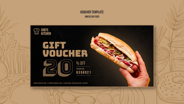 Modèle De Bon De Réduction De Hot Dogs Américain Classique Psd gratuit