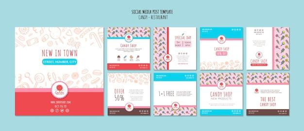 Modèle De Boutique De Bonbons Pour Les Médias Sociaux Psd gratuit