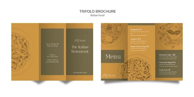 Modele De Brochure A Trois Volets De Cuisine Italienne Psd Gratuite