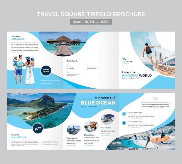 Modèle de brochure de voyage carré à trois volets PSD Premium