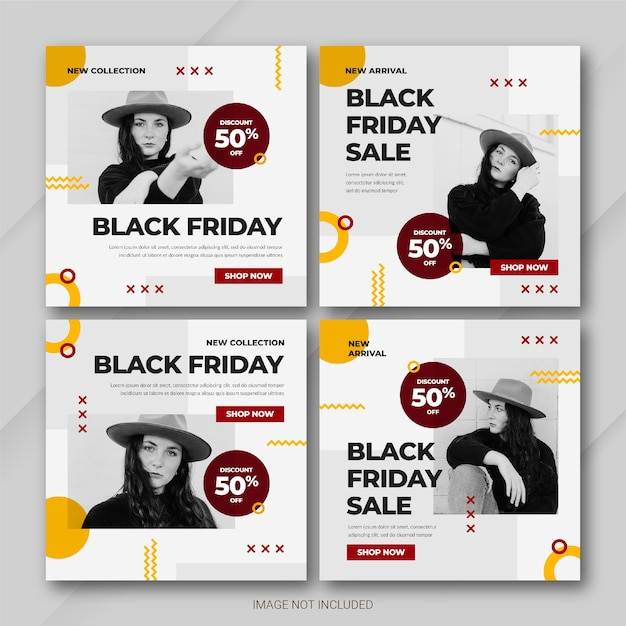 Modèle De Bundle De Publication Instagram De La Campagne Black Friday PSD Premium