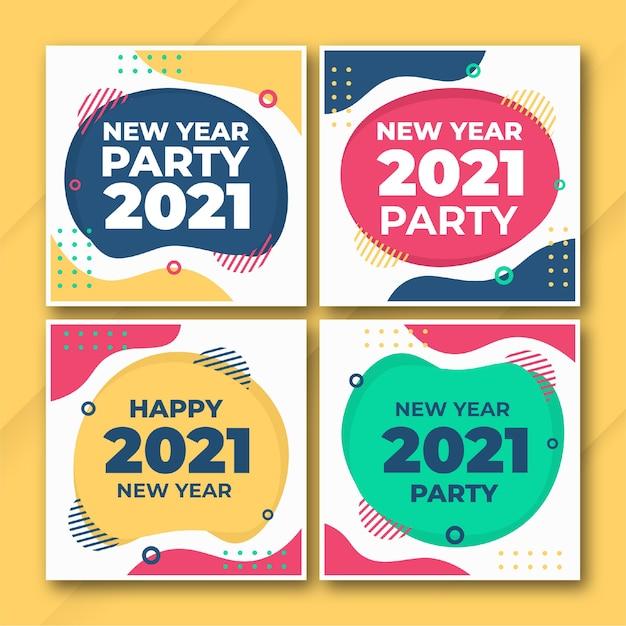 Modèle De Bundle De Publication Instagram Du Nouvel An 2021 PSD Premium
