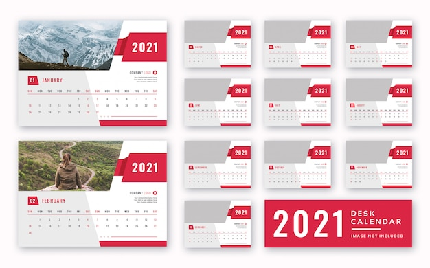 Calendrier Bureau 2021 Modèle De Calendrier De Bureau 2021 | PSD Premium