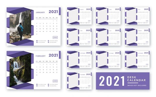 Modèle De Calendrier De Bureau 2021 PSD Premium