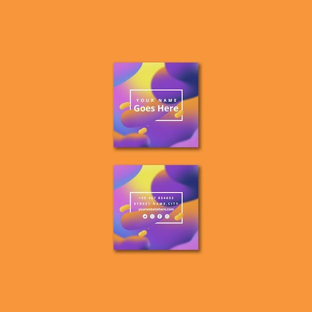 Modèle de carte carrée moderne avec fond fluide Psd gratuit