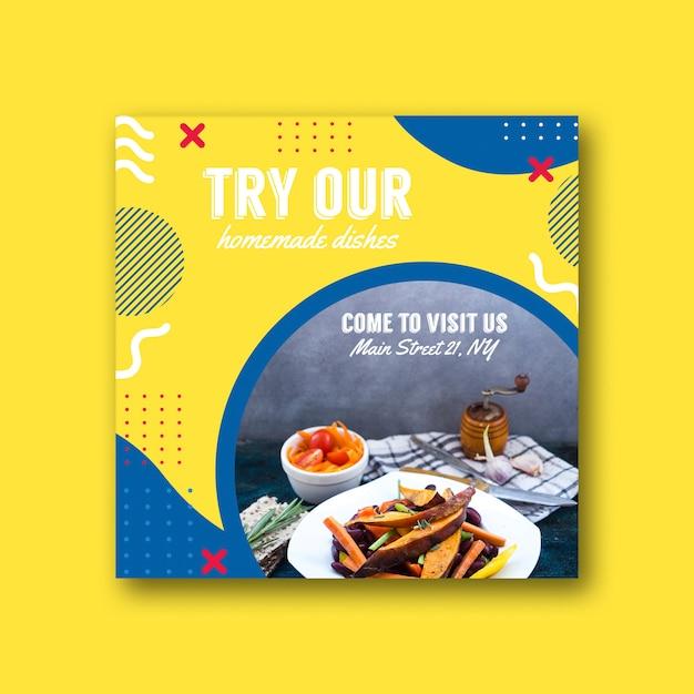 Modèle de carte carrée pour un restaurant dans le style de memphis Psd gratuit