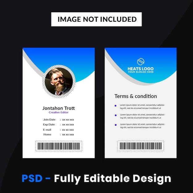 Modèle de carte d'identité d'entreprise créative PSD Premium