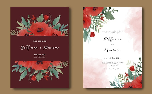 Modèle De Carte D'invitation De Mariage Avec Bouquet De Fleurs Rouges Aquarelle PSD Premium
