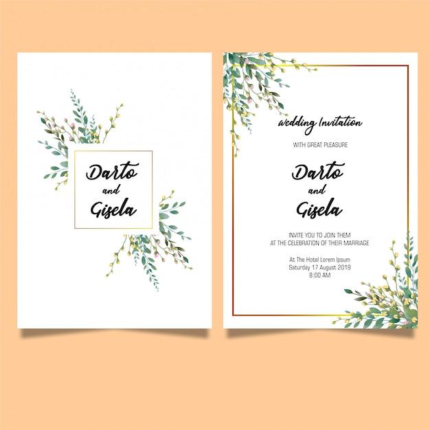 Modèle De Carte D'invitations De Mariage élégant Feuille PSD Premium