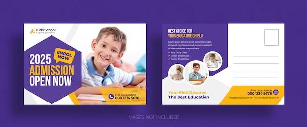 Modèle De Carte Postale D'admission à L'éducation Scolaire Pour Enfants PSD Premium