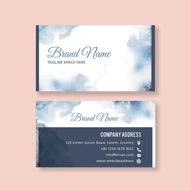 Modèle de carte de visite avec brustrokes aquarelle Psd gratuit