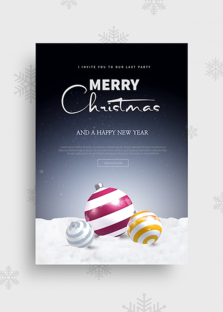 Modèle De Carte De Voeux Joyeux Noël Et Bonne Année 2020 PSD Premium