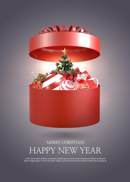 Modèle De Carte De Voeux Joyeux Noël Et Bonne Année | PSD Premium