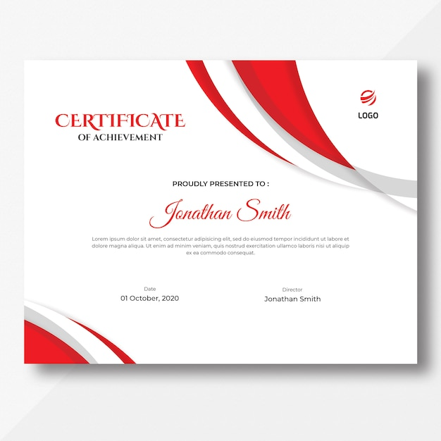 Modèle de certificat abstrait rouge PSD Premium