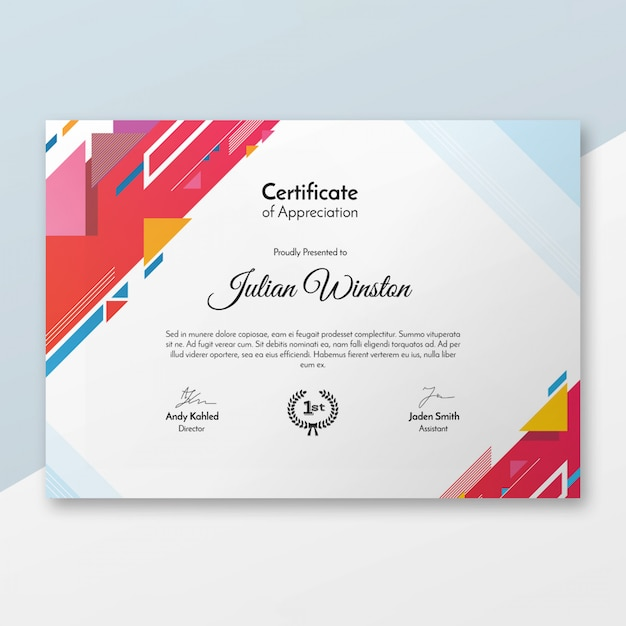 Modèle De Certificat Moderne Psd gratuit